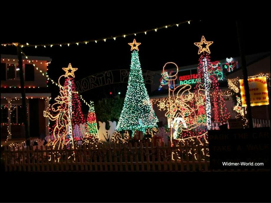 3671 Chelsea Ct., Pleasanton, Alameda County, 94588For 34 years Widmer World (aka Bob's World Two) has been decorating his house. The owner encourages visitors to get out of their car and come behind the house, where most of the light are on display. (lightsofthevalley.com)
