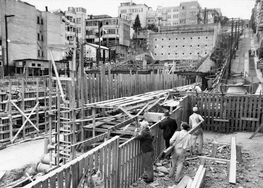 BROADWAY TUNNEL, March 21, 1951: Construction on the Broadway Tunnel, at the time the largest automobile tunnel project in the city. Neighbors filed a failed lawsuit, several houses were moved, and local businesses were paid for their lost income. Photo: Bob Campbell, The Chronicle / ONLINE_YES