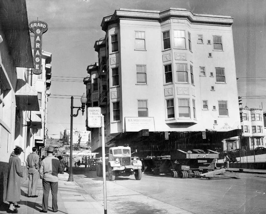 BROADWAY TUNNEL, Oct. 6, 1950: This photo blew my mind. A 12-unit apartment building, once at 1970 Larkin St., was one of several moved across the city to make room for the tunnel. It settled in an open lot on Vallejo Street. Photo: Duke Downey, The Chronicle / ONLINE_YES