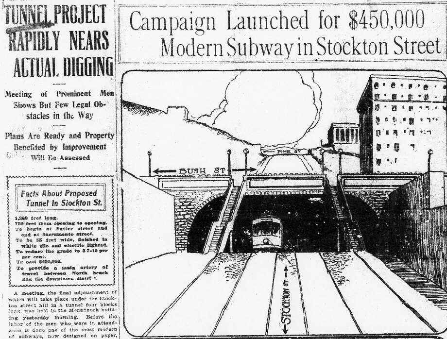 STOCKTON TUNNEL, May 11, 1912: San Francisco Chronicle article about the Stockton Tunnel. I can't believe the project cost just $450,000. A century later, you could spend that much in Union Square in an hour.  (Chronicle archives) Photo: Chronicle Archives, The Chronicle / ONLINE_YES