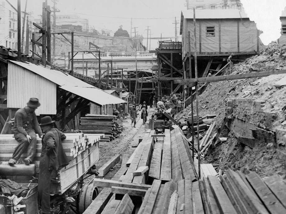 STOCKTON TUNNEL, 1914: The Stockton Tunnel in San Francisco, shown here less than a year before its completion, was an engineering marvel for its time. It also emboldened the city to bore more tunnels, including the even more ambitious Twin Peaks Tunnel later in the 1910s. (Chronicle archives) Photo: Chronicle File / ONLINE_YES