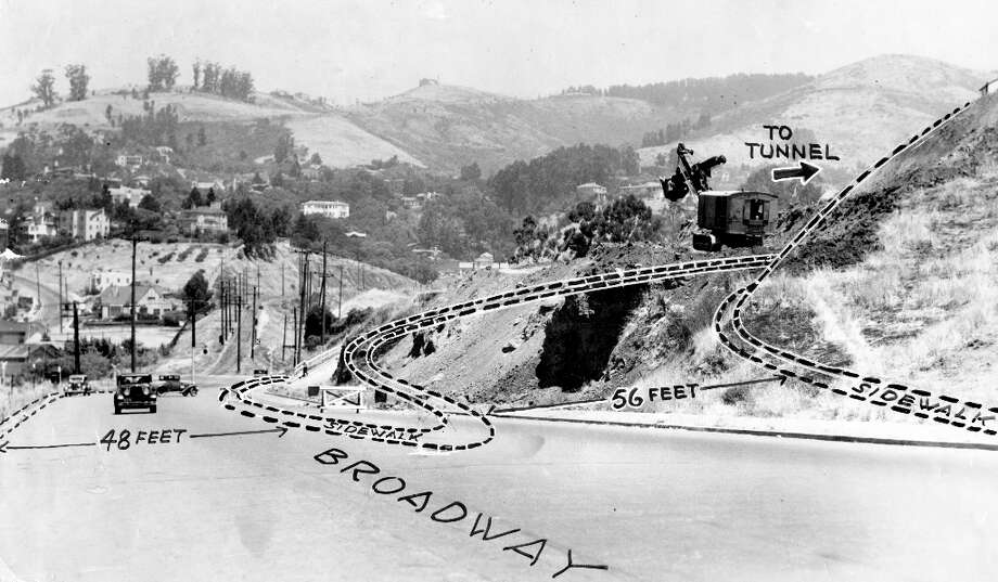 CALDECOTT TUNNEL, June 30, 1965: A photo of Broadway in Oakland, two years before the Caldecott Tunnel opened. This is a Chronicle graphic of the changes the tunnel would bring. (Chronicle file) Photo: Chronicle File, The Chronicle / ONLINE_YES