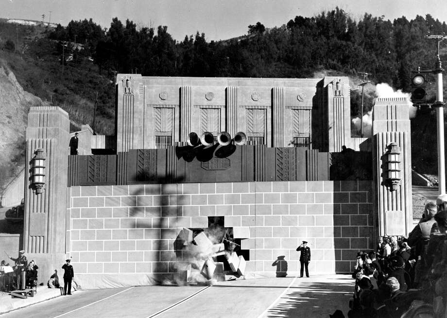 CALDECOTT TUNNEL, Dec. 6, 1937: All and all it's just another brick in the wall ... . I know the character wouldn't introduced for another three decades, but I wonder if anyone expected the Kool Aid man to burst through. (Chronicle file) Photo: Chronicle File, The Chronicle / ONLINE_YES