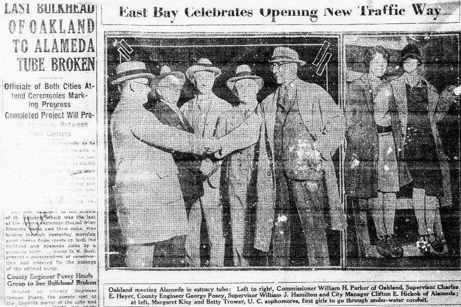 POSEY TUBE, Oct. 27. 1928: A San Francisco Chronicle article about the opening of the Posey Tube from Alameda to Oakland. The Posey Tube was completed in 1928. The Webster Tube was built 3 1/2 decades later. (Chronicle archives) Photo: Chronicle Archives, The Chronicle / ONLINE_YES