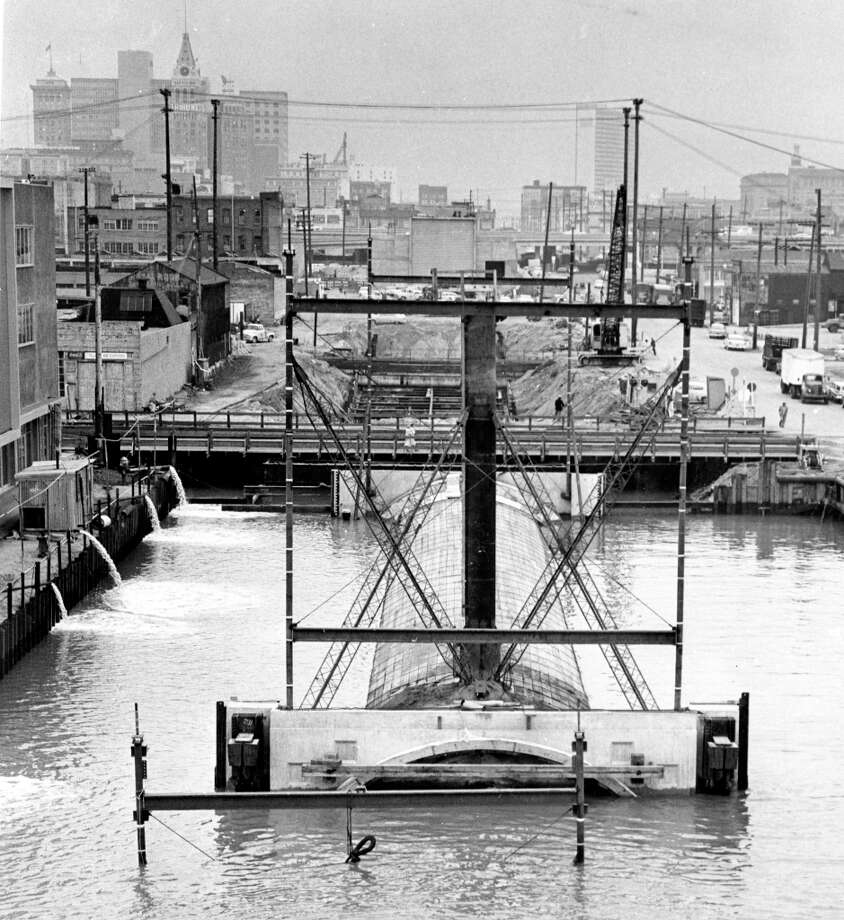 WEBSTER TUBE, Jan. 18, 1962: The last section of tube for the Webster St. Tunnel is laid in on the Oakland side of the structure. The tunnel links Oakland and Alameda. Photo: Art Frisch, The Chronicle / ONLINE_YES