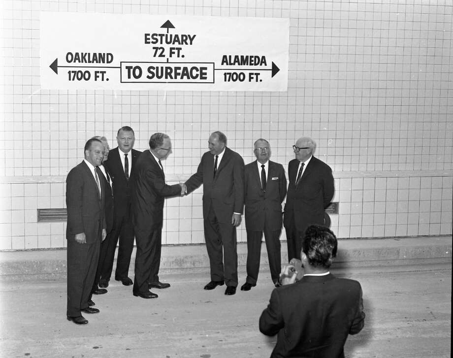 WEBSTER TUBE, Oct. 30, 1962: Dignitaries shake hands upon completion of the Webster Tunnel from Oakland to Alameda. Photo: Art Frisch, The Chronicle / ONLINE_YES
