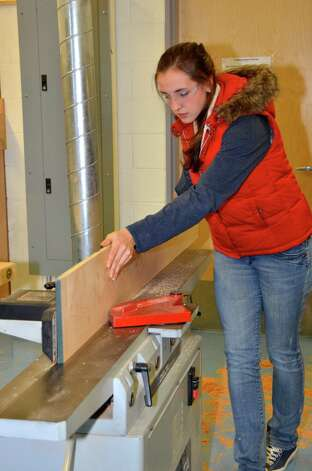 Senior Taylor Cockerill in the process of making a treasure chest in woodworking class.  Darien High School, Dec. 10, 2012. Photo: Jeanna Petersen Shepard