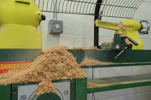 Piles of sawdust represent the constant activity in the wood shop at Darien High School.  Dec. 10, 2012. Photo: Jeanna Petersen Shepard