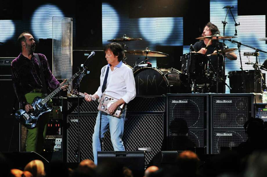 Krist Novoselic, Paul McCartney, and Dave Grohl perform Wednesday. 1(Photo by Larry Busacca/Getty Images for Clear Channel) Photo: Larry Busacca, Ap/getty / 2012 Getty Images