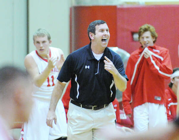 Greenwich High School boys basketball coach Bill Brehm during game against Fairfield Warde High School at Greenwich High School, Wednesday night, Dec. 12, 2012. Photo: Bob Luckey / Greenwich Time