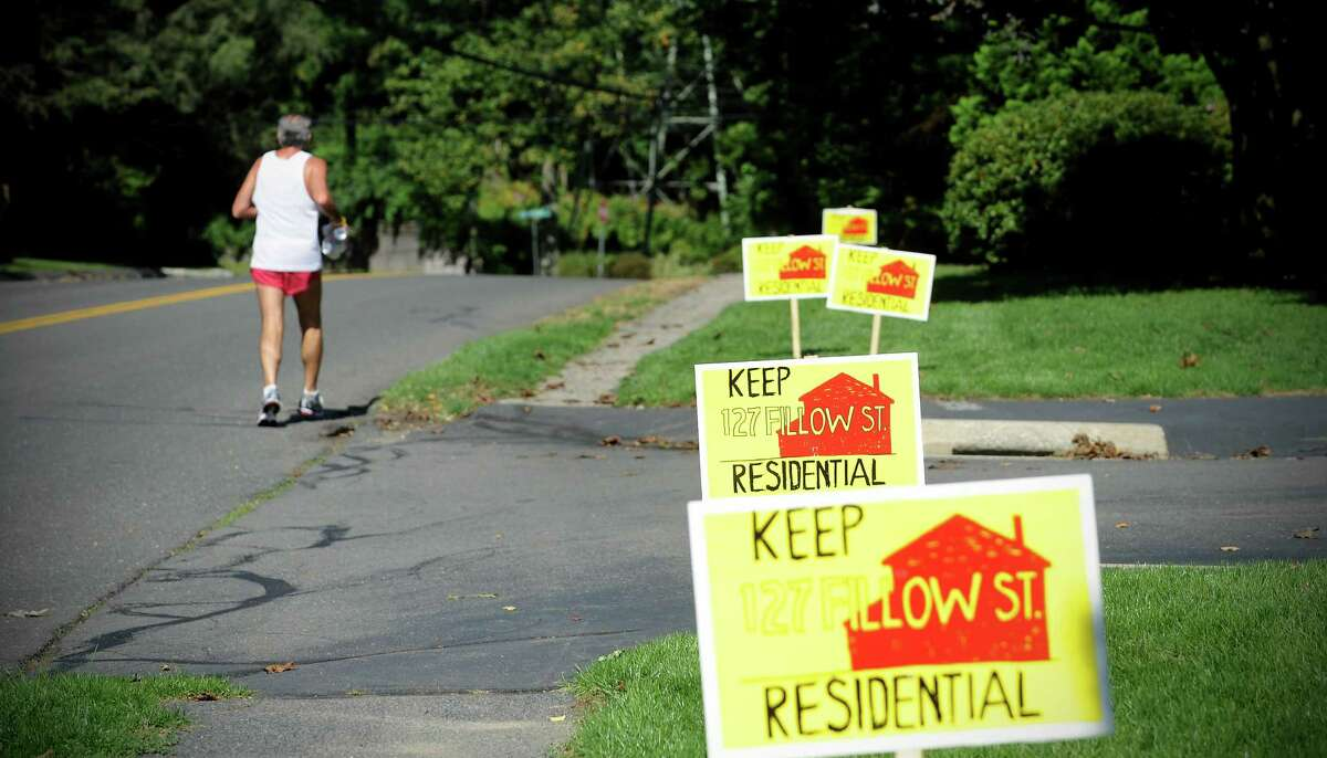 """Residents on Fillow Street and North Taylor Street are upset about a proposed mosque that would be built right behind the historical red house at 127 Fillow Street. Signs reading """"Keep 27 Fillow St. Residential"""" line the street in Norwalk, Conn. on Thursday September 23, 2010."""