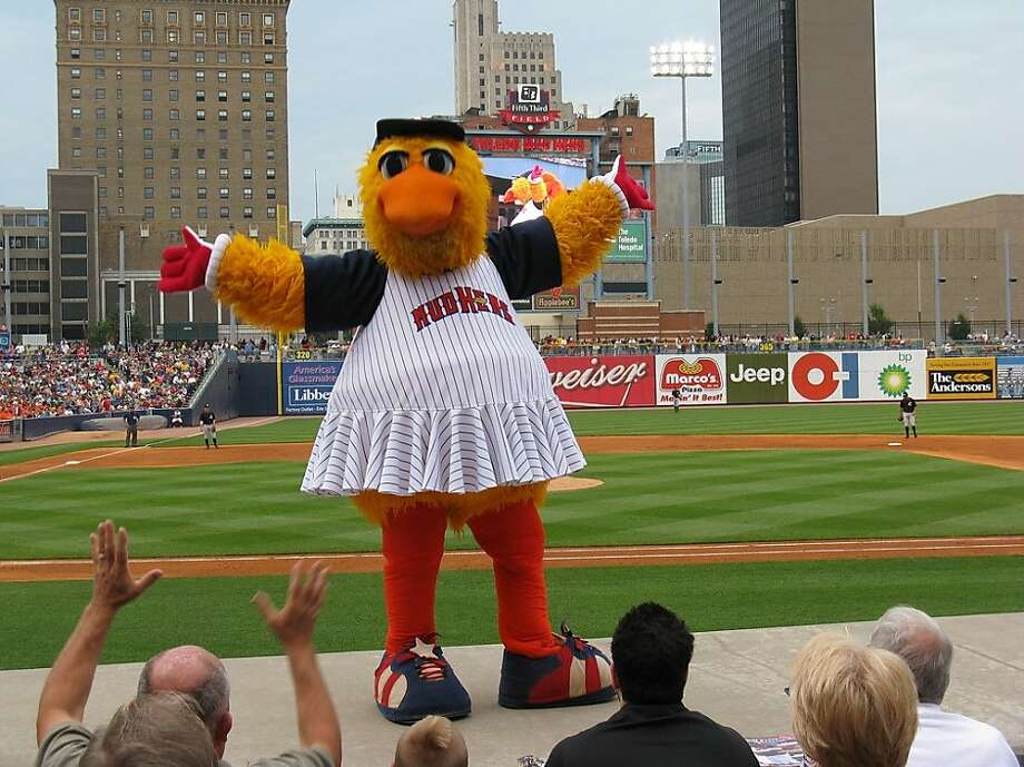 The fellow on the left seems to be cutting his losses and accepting he must now worship his demonic chicken overlord. (Toledo Mudhens, Triple-A affiliate of the Detroit Tigers)