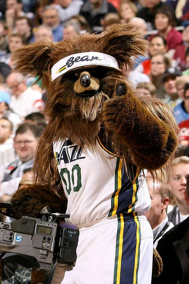 Where are its eyes?! (Utah Jazz mascot, Jazz Bear) Photo: Melissa Majchrzak, NBAE/Getty Images