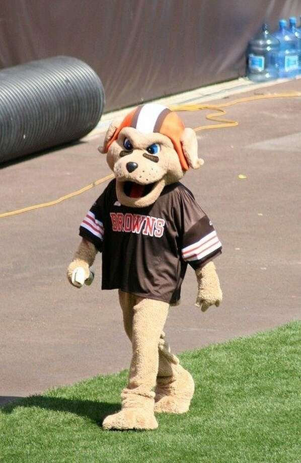 Some needs to tell the Cleveland Browns mascot that he isn't wearing any pants...