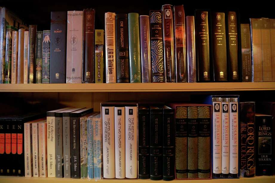 "Shown is a collection of J.R.R. Tolkien books at the ""Hobbit House"" Tuesday, Dec. 11, 2012, in Chester County, near Philadelphia. Architect Peter Archer has designed a ""Hobbit House"" containing a world-class collection of J.R.R. Tolkien manuscripts and memorabilia. Photo: Matt Rourke, AP / AP"