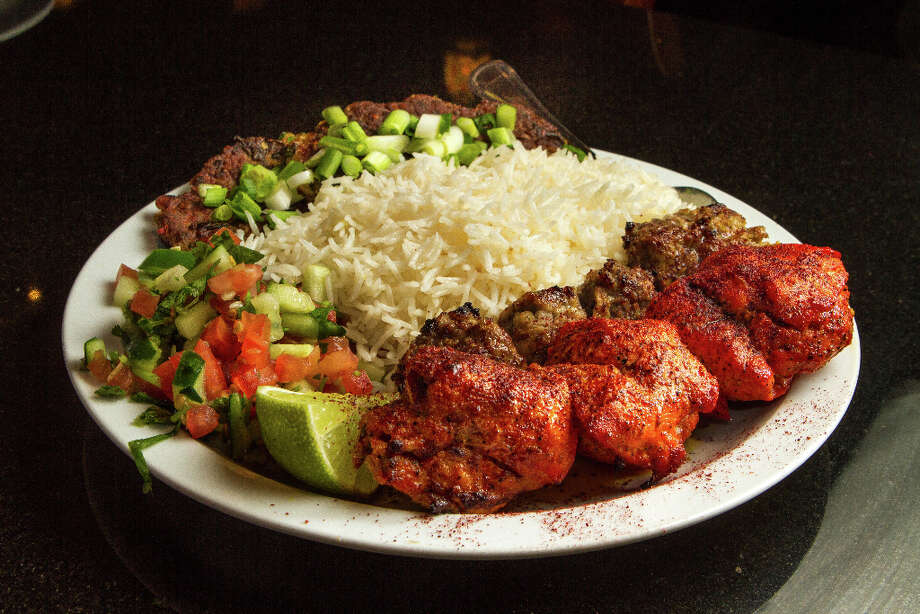 The Triple Chicken & Beef Kabob. Photo: John Storey, Special To The Chronicle / John Storey