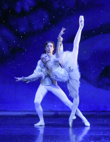 "Connecticut Ballet principal dancers Oksana Maslova and Anton Kandaurov perform in a production of Connecticut Ballet's ""The Nutcracker."" The ballet returns to the area Dec. 15, 16, 22 and 23, 2012, for 2 p.m. matinees at the Palace Theatre in Stamford, Conn. For more information visit www.scalive.org or call 203-325-4466. Contributed photo/Andrew DiCambio Photo: Contributed Photo"