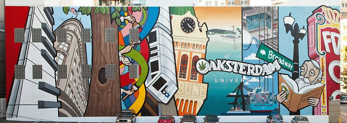 This is a photo of the original, completed mural, before it was graffitied at Oaksterdam University in Oakland, Calif.