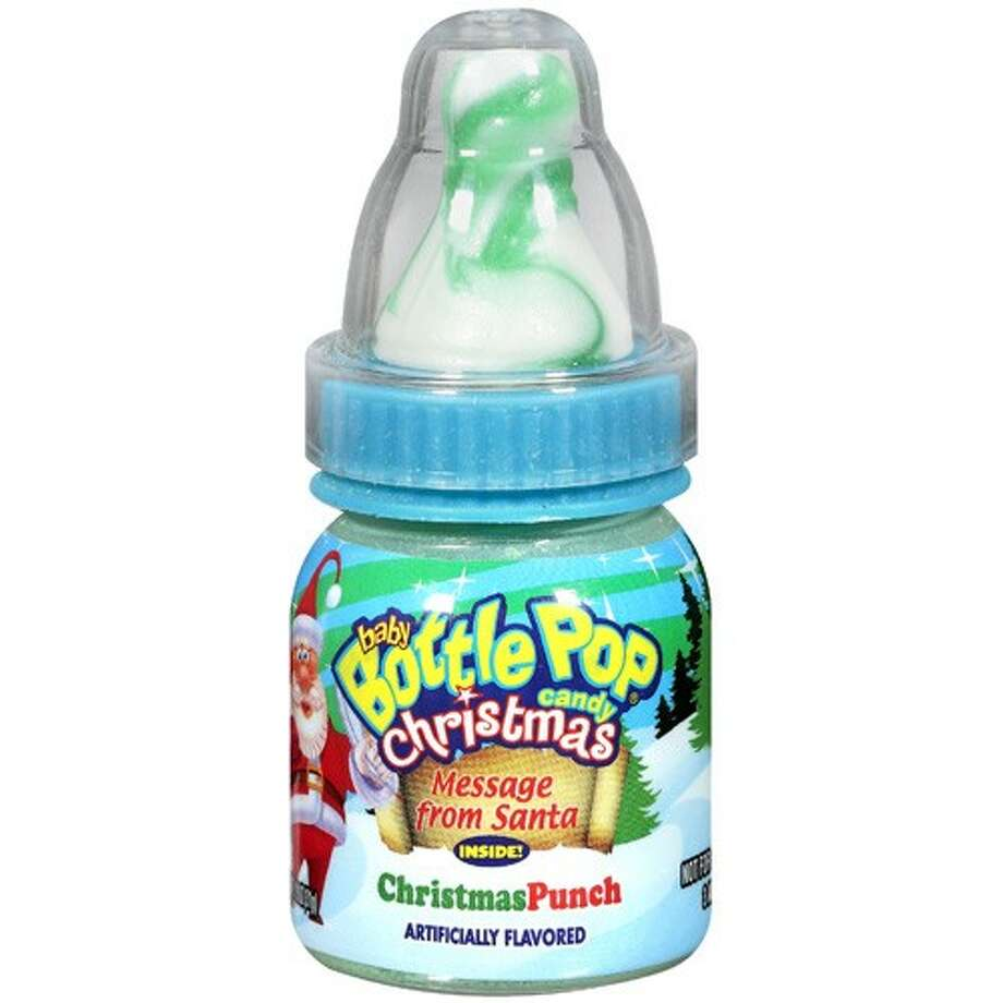 Christmas Baby Bottle Pops. Baby yourself this holiday! First lick the deliciously swirled candy pacifier. Then dip into the tangy sour powder inside the bottle. Finally, make your way through the candy powder to discover the true treat, a message from the man himself, Santa Claus! $1.75 per bottle. CandyWarehouse.com.