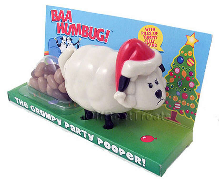 Christmas Sheep Pooping Candy Dispenser. Push down on the sheep's back and out come sweet little turds! You can practically hear the Santa hat-wearing sheep saying, Baaaahhh Humbug! $5.99. BaronBob.com.