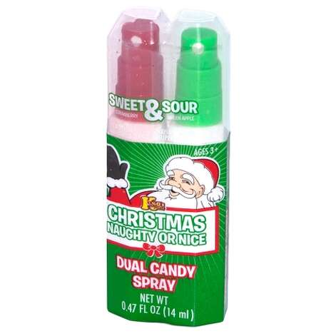 Naughty OR Nice Spray Candy. Have you been a bad little boy or girl? You deserve a spritz of the painfully sour naughty spray! Or have you been good? Bring on the sweet spray! $1.99. Stupid.com. Photo: Unknown