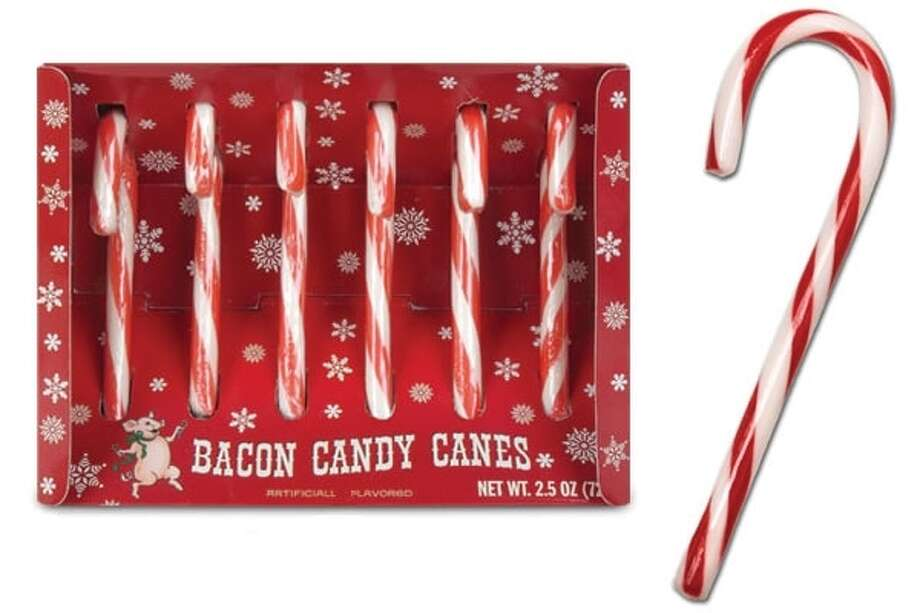 Bacon Candy Canes. Hand one of these candies to your loved one and when he takes a bite he'll truly be surprised! Tastes like bacon, not peppermint. Where's the scrambled eggs flavor? $7.95. BaronBob.com.