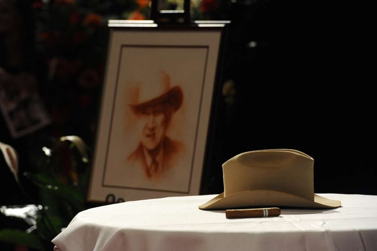 Former congressman Jack Brook's Stetson hat on display at his Celebration of Life services at the Montagne Center in Beaumont, Texas, on Sunday, Dec. 9, 2012.  (Guiseppe Barranco / AP Photo)