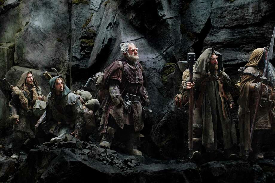 "FILE - This publicity film image released by Warner Bros., shows, from left: Dean O'Gorman as Fili; Aidan Turner as Kili; Mark Hadlow as Dori; Jed Brophy as Nori; and William Kircher as Bifur, in a scene from the fantasy adventure ""The Hobbit: An Unexpected Journey."" Filmmaker Peter Jackson's decision to shoot his epic three-part J.R.R. Tolkien prequel in the super-clear format that boosts the number of frames per second to 48 from the current standard, 24, has some unintended consequences. (AP Photo/Warner Bros, File) Photo: Uncredited"
