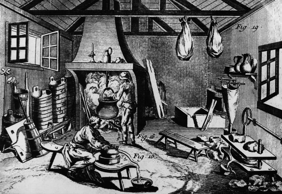 Here's another 1768 image of dairy, showing cheeses hanging up to mature, a cauldron being heated and a man separating the whey.