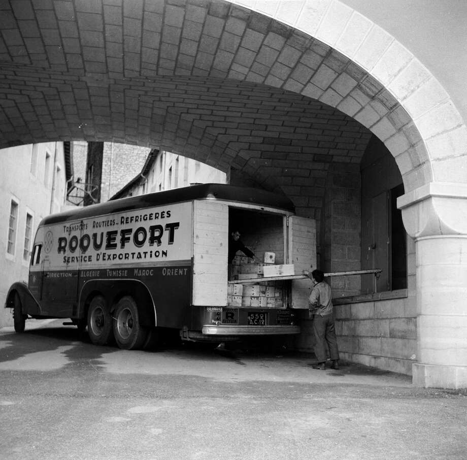 A Roquefort cheese delivery truck is loaded with cheese in the French town of Roquefort circa 1950. Photo: Three Lions, Getty Images / Hulton Archive