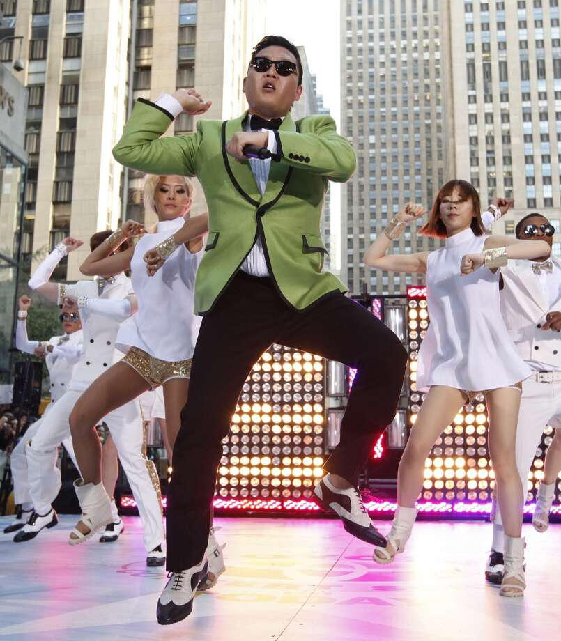 PSY performs Gangnam Style live on NBC's Today show, Friday, Sept. 14, 2012, in New York.  (Associated Press)