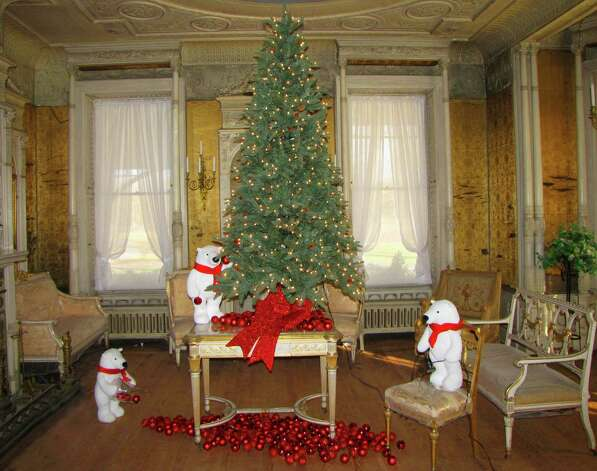 Louis XVI salon, decorated for the holidays.