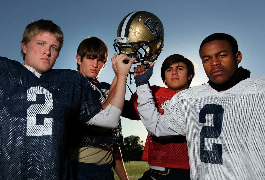 O'Connor kicker Dillon Westall (from left), linebacker Luke Farmer, QB Zach Galindo and running back Tre Johnson are four big reasons the Panthers will be playing Houston Lamar in the Class 5A Division I state semifinals Saturday in Austin. Photo: Kin Man Hui, San Antonio Express-News / ©2012 San Antonio Express-News
