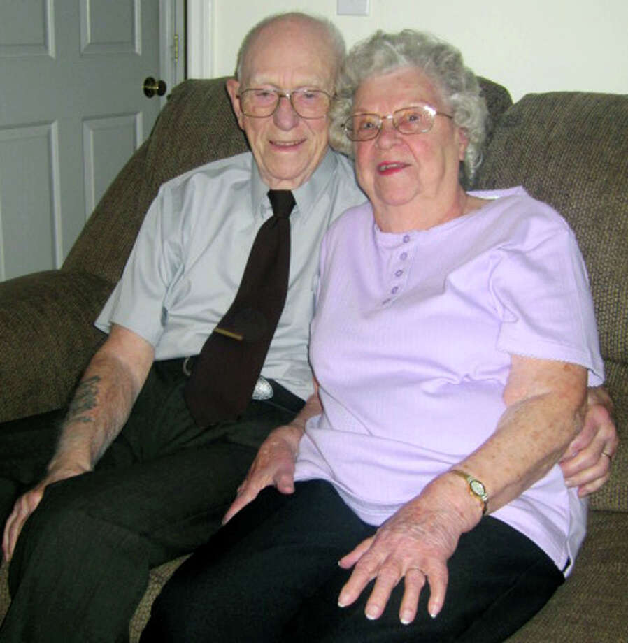 Clarence and Mary Joyce of New Milford are celebrating 75 years of marriage. Photo: Norm Cummings