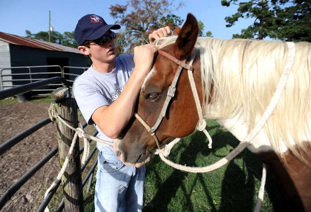 Cody Teel harnesses the horse he rides bareback on while training for the national bull riding competition at his home in Kountze, Tuesday. Tammy McKinley/The Enterprise Photo: TAMMY MCKINLEY / Beaumont