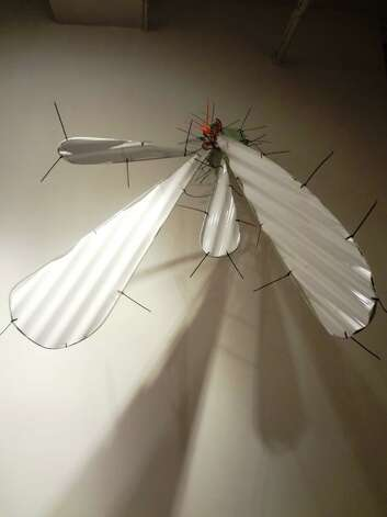 Some of UTSA grad student Ivan Salcido's found-object sculptures cling to the wall like giant insects. Photo: Steve Bennett, San Antonio Express-News