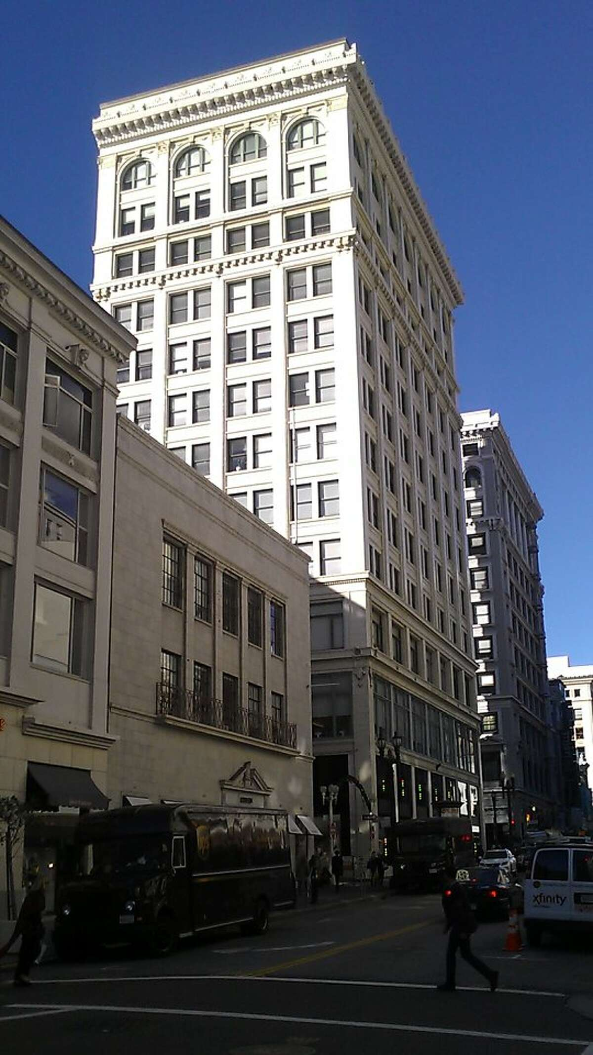 The 12-story building at 201 Post St., one block from Union Square, was built in 1909 and designed by the firm William Curlett and Sons. Prada has been the ground-floor tenant since 2008.