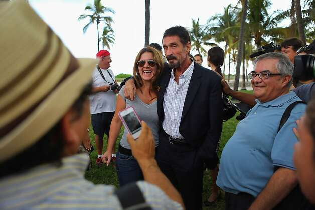 John McAfee works the crowd outside the Beacon Hotel in Miami Beach, where he is staying. Photo: Joe Raedle, Getty Images