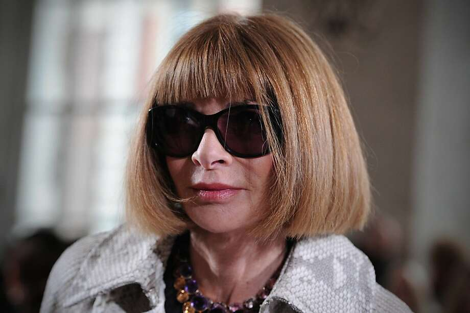(FILES)Anna Wintour, editor-in-Chief of American Vogue, attends the 2013 spring/summer collection of designer Nicole Farhi at London Fashion Week in London, in this September 16, 2012 file photo. The White House on December 5, 2012 refused to address reports that fashion empress Anna Wintour could win a plum post as US ambassador to London or Paris, but insisted non-diplomats could make good envoys. Buzz over the Vogue editor-in-chief, and big dollar donor to President Barack Obama's re-election campaign was stoked by a report by Bloomberg News this week, suggesting Obama could reward supporters with top jobs abroad.White House spokesman Jay Carney said he had no personnel announcements to make, but after some ridicule at the idea of Wintour leading a US embassy, made the case that ambassadors need not necessarily be foreign policy professionals. AFP PHOTO / CARL COURTCARL COURT/AFP/Getty Images Photo: Carl Court, AFP/Getty Images