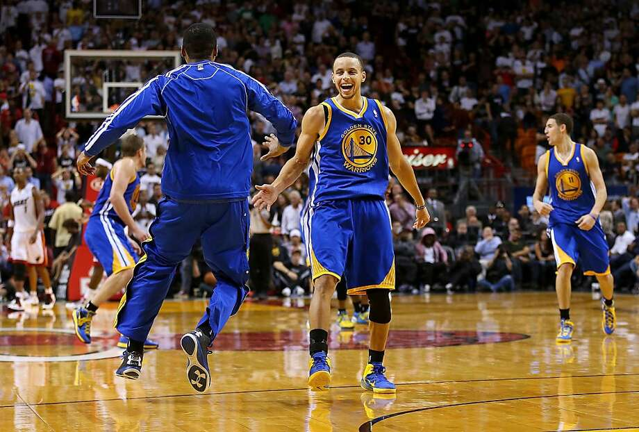 MIAMI, FL - DECEMBER 12:  Stephen Curry #30 of the Golden State Warriors celebrates a last second shot during a game against the Miami Heat at American Airlines Arena on December 12, 2012 in Miami, Florida.  (Photo by Mike Ehrmann/Getty Images) Photo: Mike Ehrmann, Getty Images