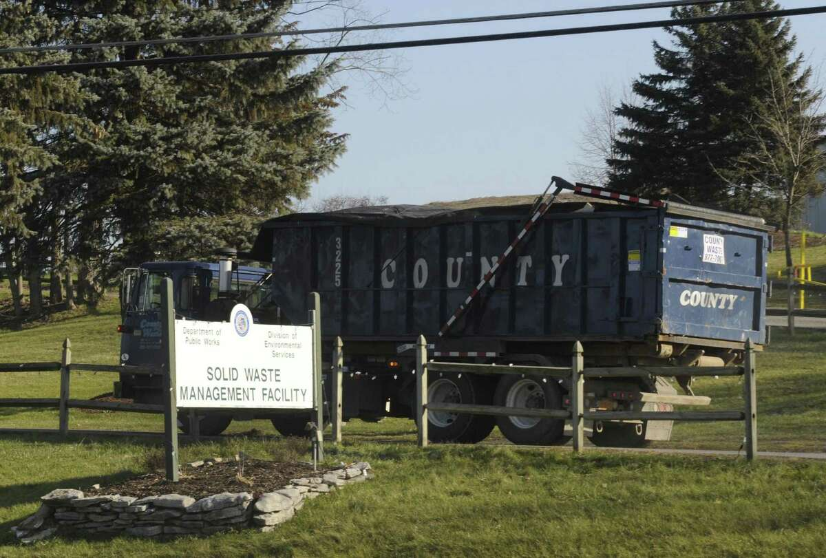 A County Waste truck enters the Town of Colonie Landfill in Colonie, NY Thursday Dec. 13, 2012. (Michael P. Farrell/Times Union)