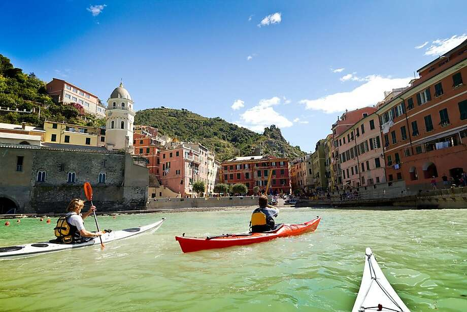 Cinque Terre's hiking trails may remain closed after the 2011 landslides, but a new sea kayaking tour provides a different perspective of the picturesque region. Photo: Tofino Expeditions