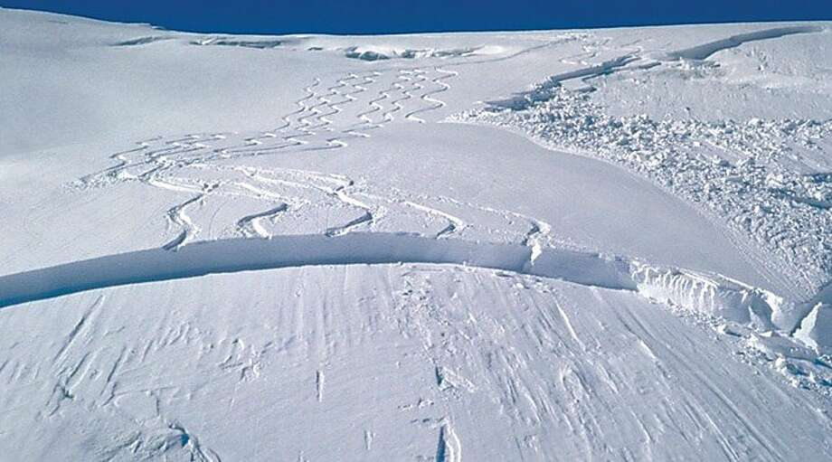 A slab break, like the one visible on a mountainside above, can occur in as little as 2 feet of fresh powder, causing avalanches. Photo: Courtesy Photo, National Avalanche Center