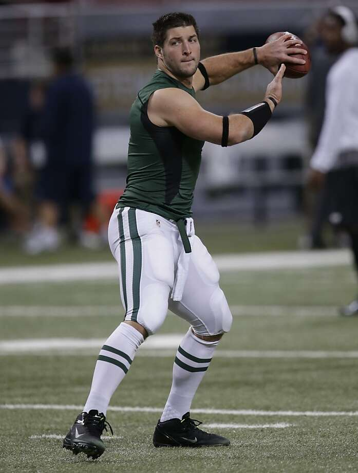 Tim Tebow hasn't played. Photo: Tom Gannam, Associated Press