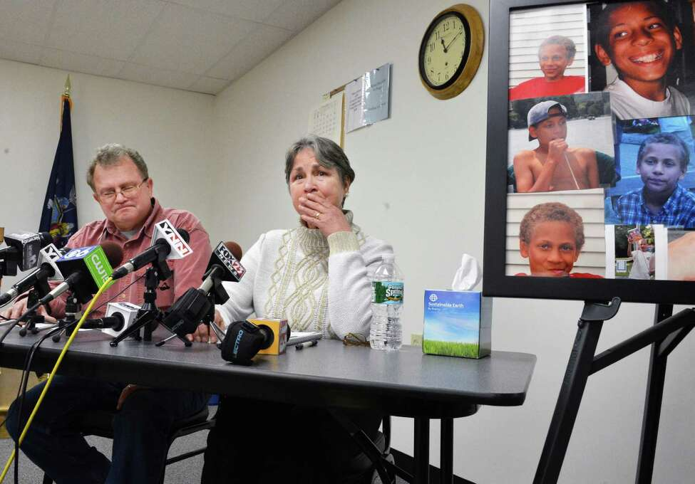 Adopted grandparents of Jaliek Rainwalker, Dennis Smith, left, and Barbara Reeley at a news conference where authorities investigating Jaliek's 2007 disappearance change the cases's status to a presumed homicide in Cambridge Thursday Dec. 13, 2012. (John Carl D'Annibale / Times Union)