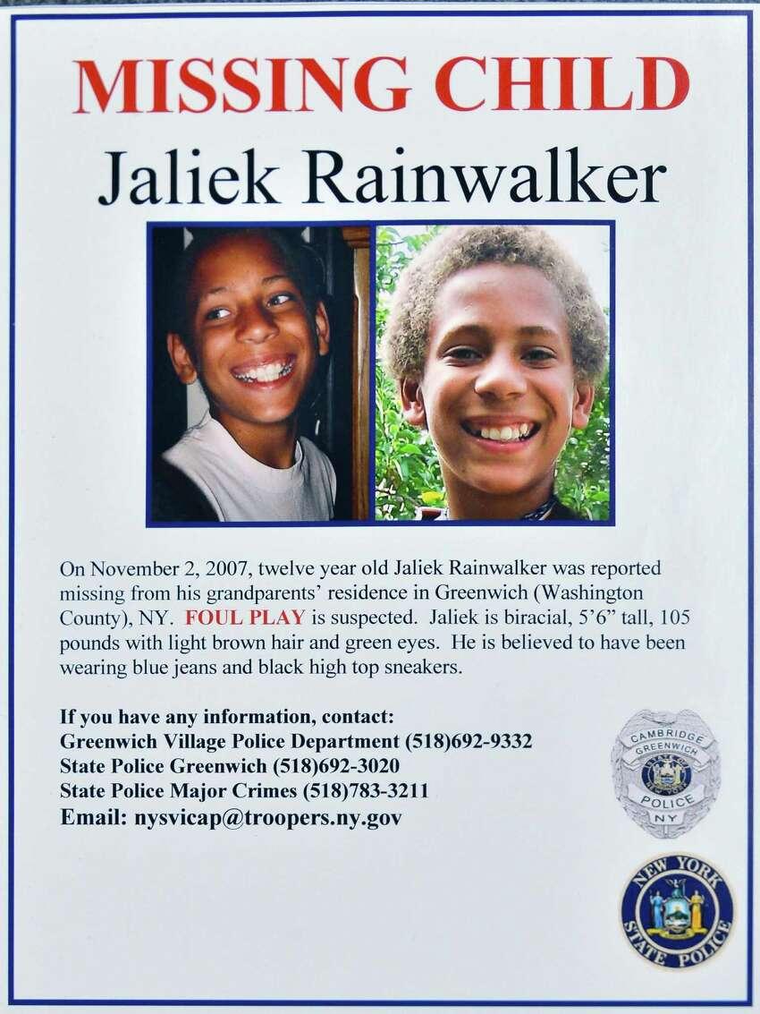 Missing poster for Jaliek Rainwalker whose 2007 disappearance is now a presumed homicide Thursday Dec. 13, 2012. (John Carl D'Annibale / Times Union)