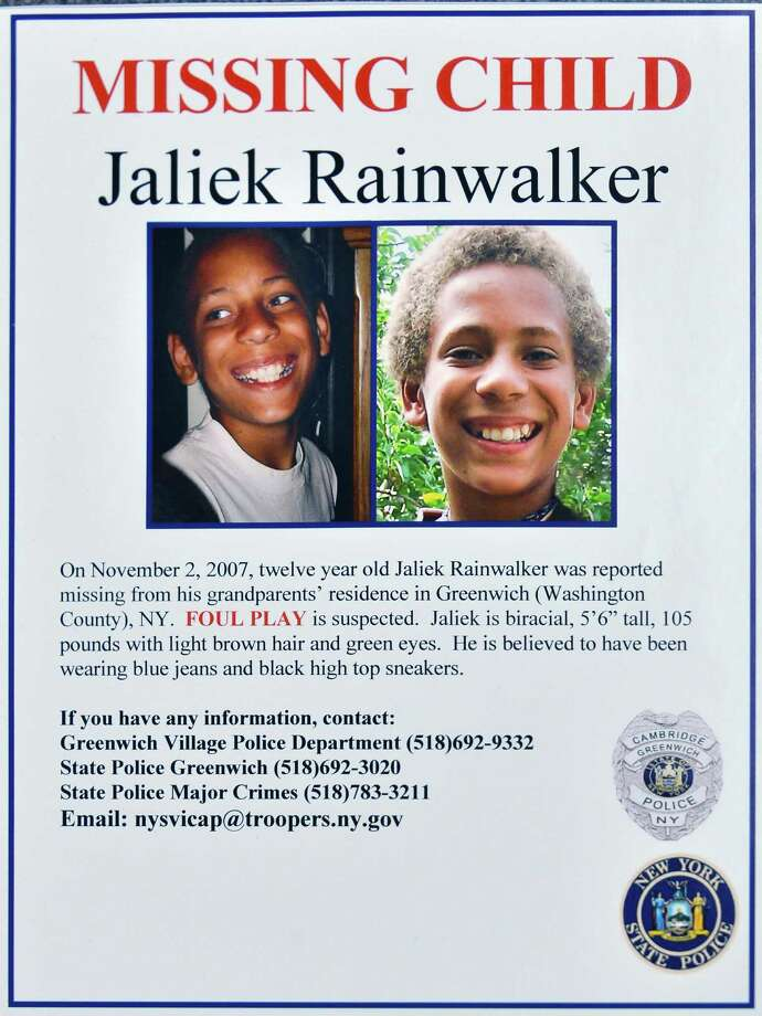 Missing poster for Jaliek Rainwalker whose 2007 disappearance is now a presumed homicide Thursday Dec. 13, 2012.  (John Carl D'Annibale / Times Union) Photo: John Carl D'Annibale / 00020454A