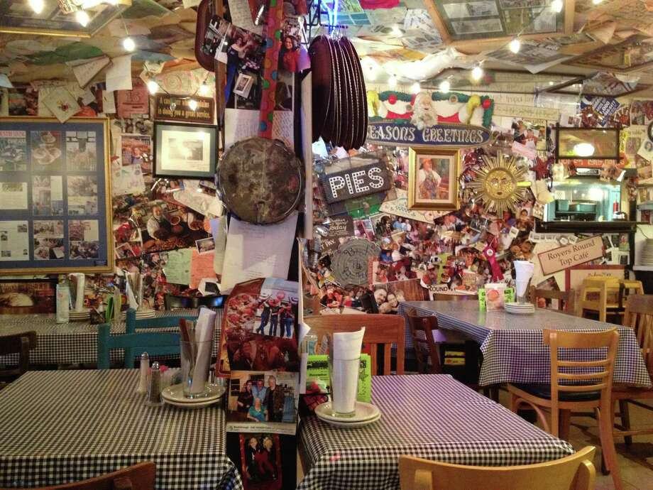 Royers' Round Top Cafe still serves up hearty fare and its famous pies. The interior walls are plastered with memorabilia. Photo: Don Glentzer