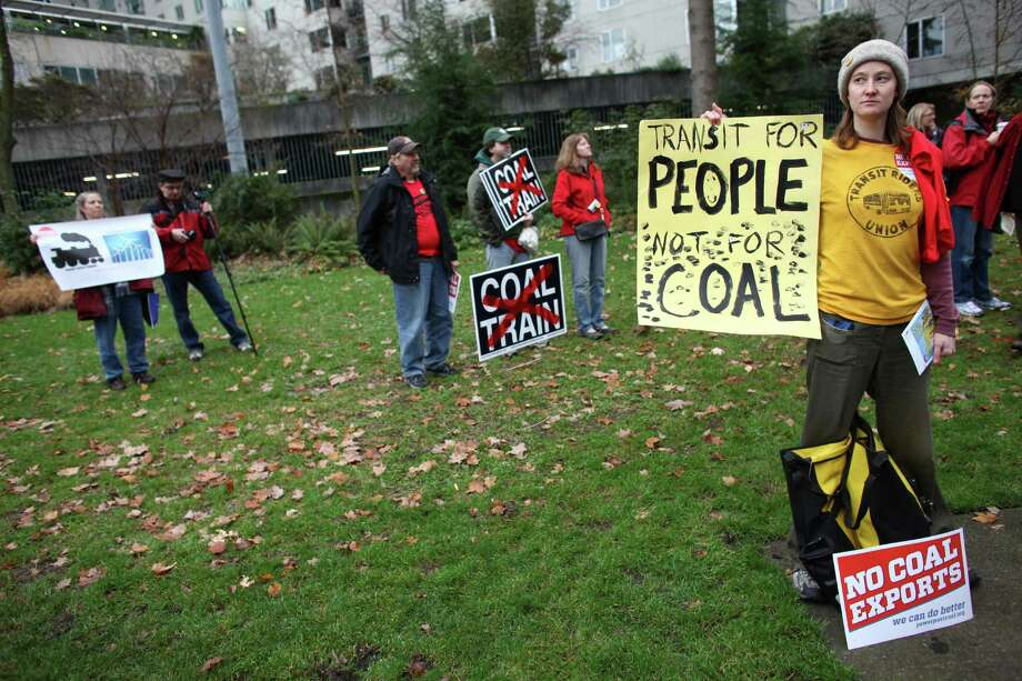 People gather in Freeway Park during a scoping meeting about the proposed Cherry Point coal export terminal in Whatcom County. Photo: JOSHUA TRUJILLO / SEATTLEPI.COM