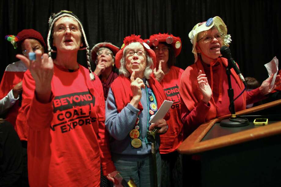 The Raging Grannies perform during a scoping meeting about the proposed Cherry Point coal export terminal. Photo: JOSHUA TRUJILLO / SEATTLEPI.COM